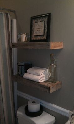 Pallet wood floating shelves...one behind the toilet in the master?
