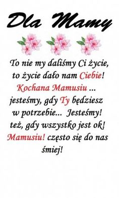 DZIEŃ MATKI Wish, Humor, Inspiration, Quote, Mother's Day, Quotes, Biblical Inspiration, Humour, Funny Photos