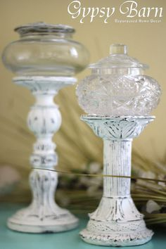 Repurpose candle sticks and glass jars. Or it could be a pedestal for a fairy home! Good tip on an adhesive in the instructions, too. Thingers Needing a Name :: Hometalk Glass Jars, Mason Jars, Diy And Crafts, Arts And Crafts, Diy Candles, Pedestal, Craft Stores, Candlesticks, Farmhouse Decor