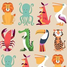 Lions, Tigers, Lobsters and Toucans are just a few of the cute creatures on Rex London& Colourful Creatures wrap. Each sheet measures x Sold in packs of 5 sheets only. Illustration Inspiration, Pattern Illustration, Children's Book Illustration, Animal Illustrations, Digital Illustration, Cute Animal Illustration, Illustrations Posters, Kids Patterns, Print Patterns