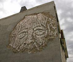 Street art in Stavanger, Norway, by Alexandre Farto aka Vhils