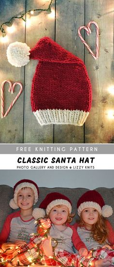 Classic Santa Knitting Hat with Free Pattern - Knitting for beginners,Knitting patterns,Knitting projects,Knitting cowl,Knitting blanket Knitted Hats Kids, Knitting For Kids, Knitting For Beginners, Easy Knitting, Knitting Scarves, Knitted Hat Patterns, Baby Hats Knitting, Knit Hats, Knitting Socks