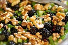 Domestic Charm: Blackberry Salad with Toasted Walnuts and Raspberry Balsamic Vinegarette