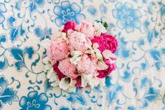 Pink peony, white sweat pea bouquet