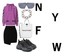 """""""Hype Style at NYFW"""" by theot ❤ liked on Polyvore featuring Miss Selfridge, Balenciaga, Off-White, Mykita and CÉLINE"""