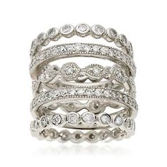 Chic multi-shaped band rings for stacking and fashion variety with 2.80 ct. t.w. CZs for ultra glam and glimmer! Sterling silver band rings. <i>CZ weights are diamond equivalents.</i> Free shipping & easy 30-day returns. Fabulous jewelry. Great prices. Since 1952.