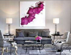 Statement piece. Purple white abstract, gray living room