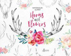 Cuernos y flores. 14 imágenes prediseñadas por OctopusArtis en Etsy