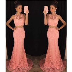 Two piece lace mermaid prom dress, Peach long prom dresses, Sexy Lace prom dresses, prom dress online, 2017 prom dress, 16054 sold by shedresses. Shop more products from shedresses on Storenvy, the home of independent small businesses all over the world.
