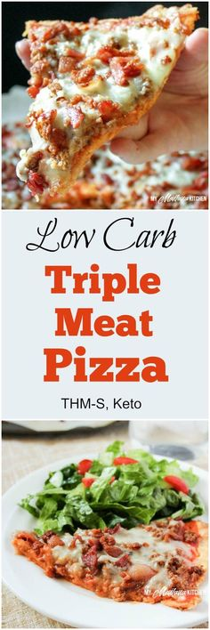 Low Carb Triple Meat Pizza (THM-S) - A low carb pizza topped with three different meats, and with a crust sturdy enough that you can pick it up and eat it with your hands! This recipe is low carb, sugar free, and a Trim Healthy Mama & fuel. Low Carb Dinner Recipes, Low Carb Recipes, Diet Recipes, Cooking Recipes, Healthy Recipes, Pizza Recipes, Keto Foods, Comida Pizza, Lowcarb Pizza
