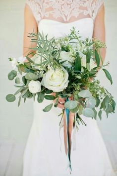 """{Lovely """"Free Form"""" Bridal Florals: White Garden Roses, White Ranunculus, Green Queen Anne's Lace, White Freesia, Green Eucalyptus, Green Seeded Eucalyptus, & Misc. Other Greenery/Foliage Hand Tied With Aqua, White, & Apricot Satin Ribbons·····················}"""
