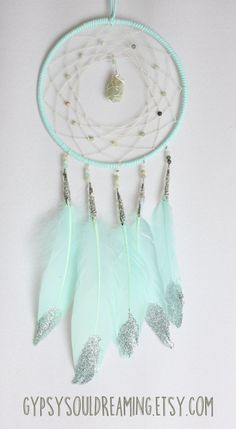 Mint Dream Catcher with Amazonite Beads, a Hand Wrapped Moonstone Centerpiece, and Mint Goose feathers with Silver Glitter