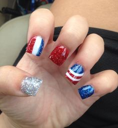 4th of July, red white and blue solar nails