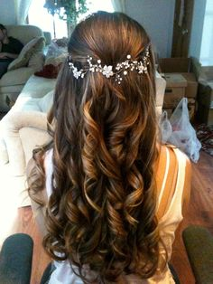 Bridal Hairstyles for Perfect Big Day; Braid styles for long or medium length hair; Easy hairstyles for women. beautiful hair styles for wedding Bridal Hairstyles for Perfect Big Day Wedding Hair Down, Wedding Hair And Makeup, Hair Makeup, Wedding Updo, Prom Updo, Bridal Updo, Half Up Half Down Wedding Hair, Boho Wedding, Curly Bridal Hair