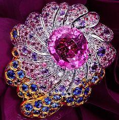 #Sapphire #Diamond #PinkSapphire #Brooch #Pins #Jewellery