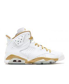 online retailer 2ca2b e7cc5 Air Jordan 6 Retro Golden Moments Package White Metallic Gold 384664 135  Homme Blanc, Chaussures