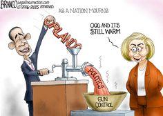 Orlando shooting Politics - Obama and Hillary have no problem turning Radical Islamic terrorism into a gun control narrative. Political cartoon by A.F.Branco ©2016