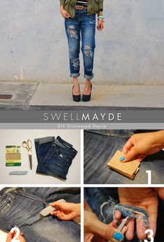 DIY: Distressed Denim — Unique Markets Easy distressed boyfriend jeans how to. Click the link for description. Going to goodwill, buying a pair of jeans, and distressing with sandpaper scissors and tweezers Outfit Jeans, Old Jeans, Ripped Jeans, Denim Jeans, Skinny Jeans, Diy Distressed Jeans, Diy Mode, Diy Vetement, Do It Yourself Fashion