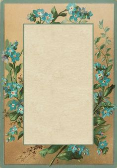 """""""A Tiny Little Flower"""" ~ Forget-me-not border, 3.5"""" x 5"""" image."""