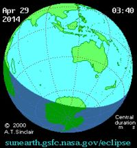 """SolarEclipse2014Apr29. Details in """"Solar Eclipse of April 29, 2014"""" of Sun Is The Future at http://www.sunisthefuture.net/2014/04/29 (click on the image twice to view the post and photos)"""
