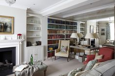 Interior Design Inspiration – Our portfolio showcases how we transformed a London townhouse into a traditional family home with an elegant country feel. London Townhouse, Interior Design Inspiration, Bookcase, Home And Family, Home And Garden, Notting Hill, Shelves, Magazine, Home Decor
