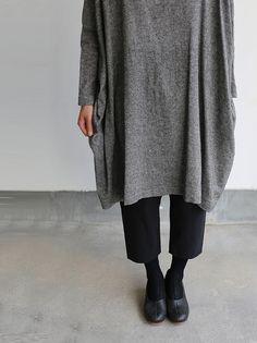 Dolman tunic~wool linen / Draw string sarrouel pants 5