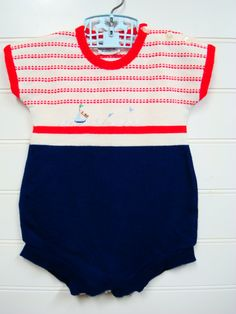 Vintage Baby Clothes/ Baby Boy Knit Romper with by OnceUponADaizy, $14.00