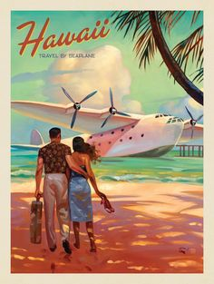 This series of romantic travel art is made from original oil paintings by artist. This series of romantic travel art is made from original oil paintings by artist Kai Carpenter. Poster Art, Art Deco Posters, Hawaii Vintage, Deco New York, Arte Pop, Vintage Travel Posters, Romantic Travel, Romantic Vacations, Oeuvre D'art