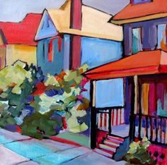 Daily Painting Woolwich Street contemporary cityscape, painting by artist Carolee Clark
