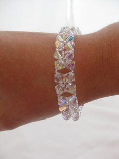 bridal bracelet - cuff - swarovski crystal -   wedding jewelry - handmade $39.00 usd