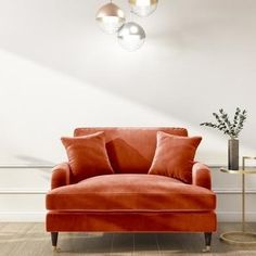 Buy Burnt Orange Velvet Loveseat - Payton from - the UK's leading online furniture and bed store Living Room Orange, Living Room Sets, Living Spaces, Cozy Living, Burnt Orange Decor, Burnt Orange Kitchen, Orange Couch, Orange Chairs, Orange Accent Chair