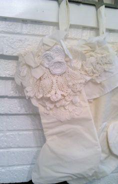 Vintage Crochet Lace Shabby Christmas Stocking