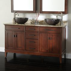 "60"" Tobacco Madison Double Vanity Cabinet with Vessel Sinks"