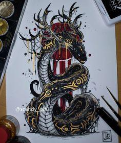Creature Drawings, Animal Drawings, Body Art Tattoos, Sleeve Tattoos, Girl Back Tattoos, Snake Art, Japanese Tattoo Art, Dark Art Drawings, Mythical Creatures Art