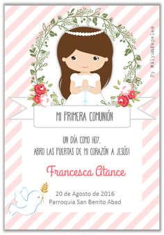 Primera comunion Under Wear underwear cartoon Communion Invitations, Ideas Para Fiestas, First Holy Communion, Printable Coloring, Christening, Wedding Cards, Party Time, Diy And Crafts, Blog