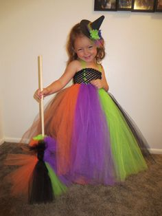 3 piece witch Halloween costume, tulle dress, witch hat, witch broom, tulle costume on Etsy, $50.00