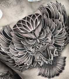 Got to finish off this super fun chest piece today! 7 hours total on this one. Owl Tattoo Chest, Owl Eye Tattoo, Owl Tattoo Drawings, Chest Piece Tattoos, Tatoo Art, Torso Tattoos, Stomach Tattoos, Dope Tattoos, Sleeve Tattoos