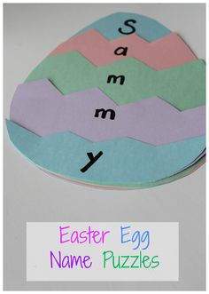 This Easter egg name puzzle is a great way to practice learning to spell a name.  It is also great for practicing sight words and makes a cute preschool craft!