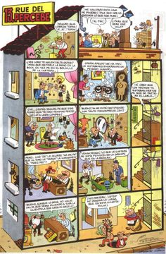 13, Rue del Percebe es una macroviñeta humorística de un edificio que ocupa una página y que está dividida a su vez en viñetas no secuenciales con cada uno de los apartamentos que lo compone y la comunidad que en él habita. Creada por Francisco Ibáñez en 1961. Old Posters, Spanish Classroom Activities, Curious Cat, Short Comics, Patras, Infancy, Indie Kids, Old Tv, Sweet Memories