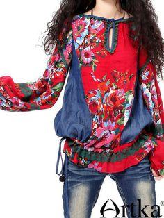 chinese flora denim drop-waist shirt