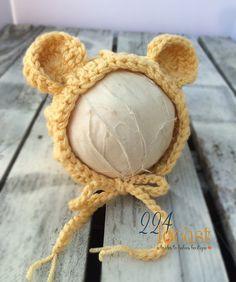 Bear Hat in Size 0-12 mos Bonnet Gold Bear Hat Teddy by 224Locust