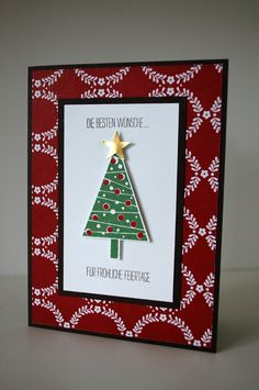 Marion's CAS card: Festival of Trees, Trim the Tree dsp stack, Tree Punch, & more. All supplies from Stampin' Up!