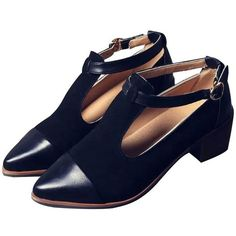 LUCLUC Black London-style Pointed Shoes ($30) ❤ liked on Polyvore featuring shoes, long shoes, pointy shoes, famous footwear, pointed shoes and black shoes