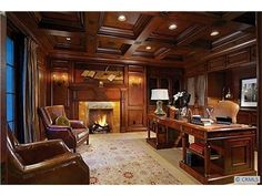 wood paneled office   Beautiful wood-paneled library