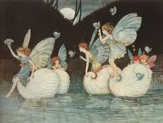 Elves Fairies Vintage Withc Gingham Check Hat Bat Broom Childrens Book Storybook Illustration Australian Australia Illustrator Ida Rentoul Outhwaite Fairytale Poem Water Sprites River