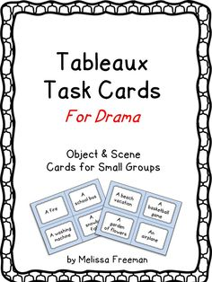 Use these 24 task cards of objects and scenes to play a fun tabl… Teaching Drama? Use these 24 task cards of objects and scenes to play a fun tableaux game! Students get into small groups, choose a… Continue Reading → Theatre Games, Teaching Theatre, Teaching Art, Teaching Ideas, Teaching Resources, Drama Teacher, Drama Class, Work Drama, Drama Drama