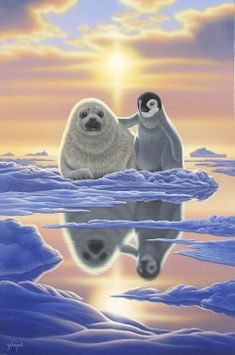 Ravensburger - Schimmel - Friends around the world, 1000 Teile Puzzle Majestic Animals, Animals Beautiful, Cute Baby Animals, Animals And Pets, Cute Penguins, Bear Art, Cute Animal Drawings, Wildlife Art, Animal Paintings