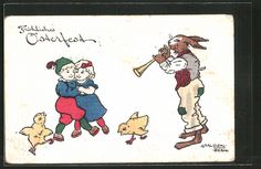 carte postale ancienne: CPA Illustrateur Carl Diehl: Osterhase spielt Flöte et des enfants et Küken tanzen