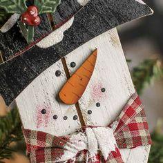 Wood Plank Snowman Ornament - Christmas