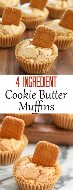 4 Ingredient Cookie Butter Muffins. Easy, fresh baked muffins!
